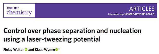 Nature Chemistry: Control over phase separation and nucleation using a laser-tweezing potential